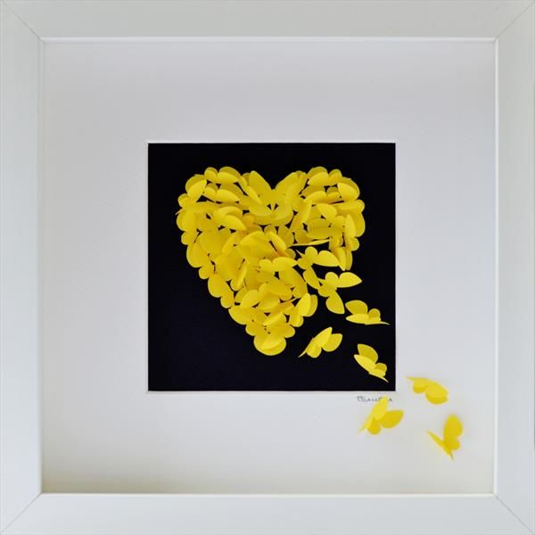 Yellow Butterfly Heart On Black Background by Sara Lawson