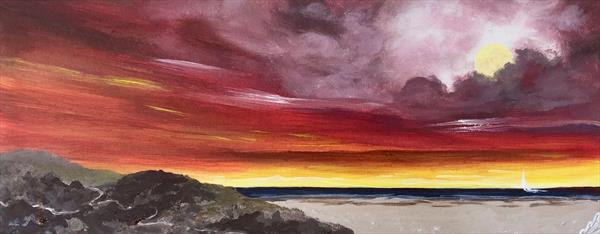 Abstract Red Sunrise and a Full Moon by Marja Brown