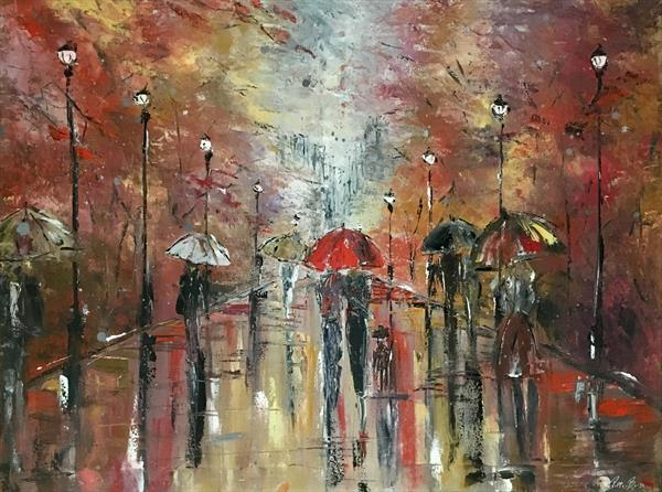 Lovers stroll in city park  by Pippa Buist