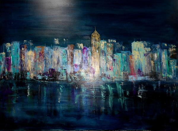 City Scape In Blue II by Maxine Martin