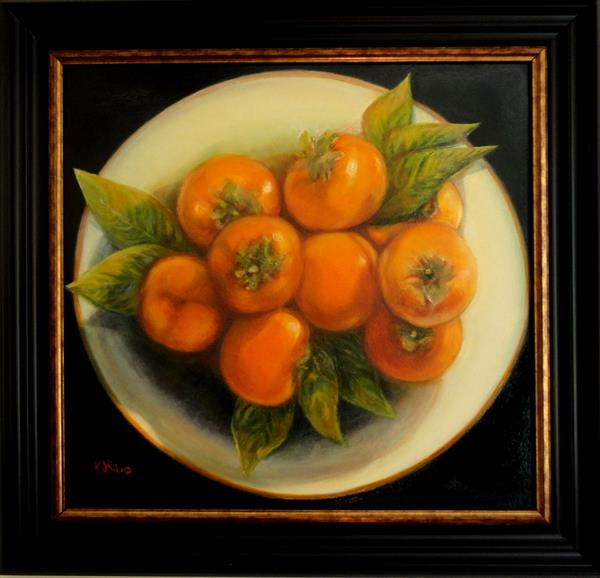 Persimmons in a Dish by Maureen De Silva