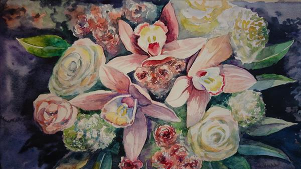 Orchid roses flowers bouquet Winsor & Newton Artist watercolour paper A4 by Elena Haines