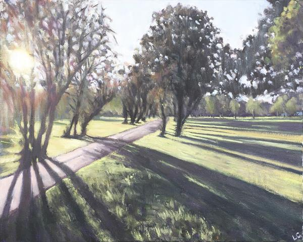 Long shadows, Wandsworth Common  by Louise Gillard