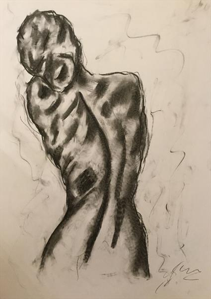 First Glance - Large Nude Charcoal Drawing by James Shipton