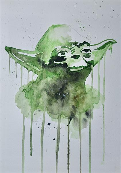 Star Wars Yoda watercolour painting by Matt Dale