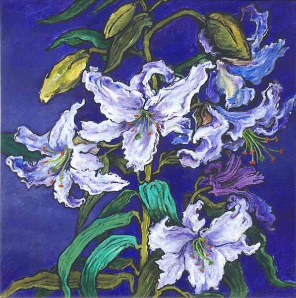 White Lilies on Purple by Patricia Clements