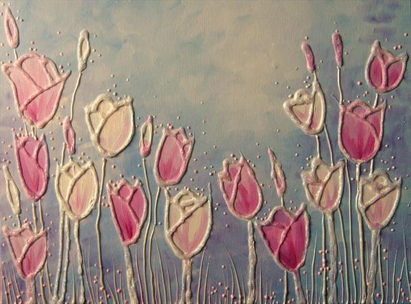 Pink and white tulips by Angie Livingstone
