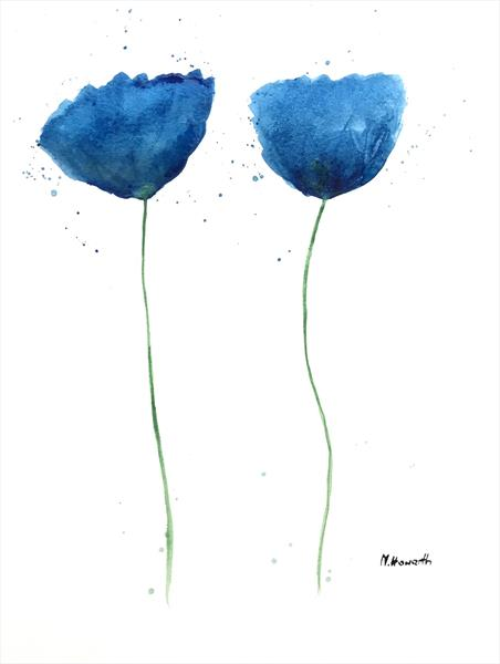 Dark blue flowers no.2  by Monika Howarth
