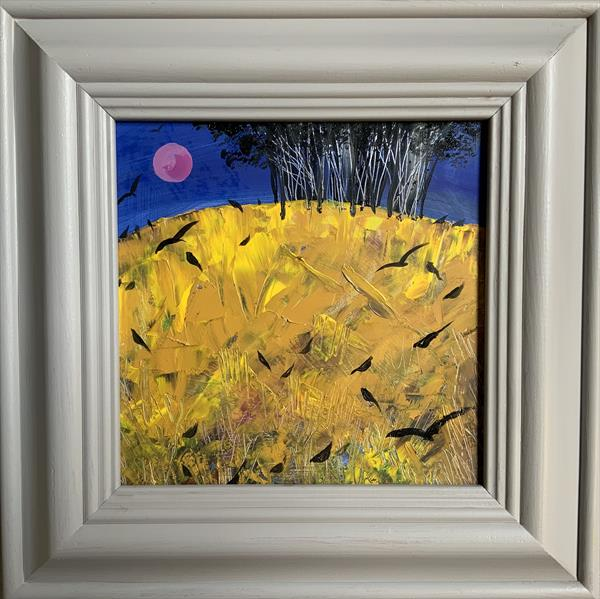 Pink Moon over Crow Hill ( framed original oil) by Sarah Gill