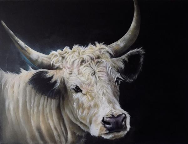 White Park: Cow painting by Victoria Coleman
