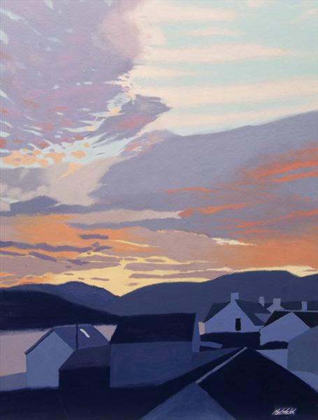 Sunset Over the Roofs (2012) by Malcolm Warrilow