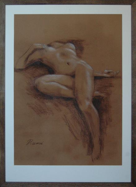 Esquisse. Nude Study. Dry Pastel. Matted and framed. by Rumen Spasov