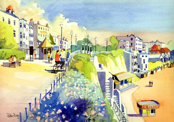 Broadstairs Promenade Looking North. Kent. Beach and Chalk Cliffs.  by Peter Day