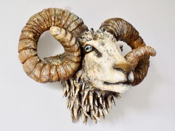Pale and Interesting: Mixed media ram sculpture by Victoria Coleman