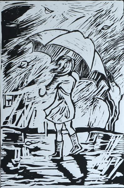 A Girl with Umbrella linocut by Milena Blaziak Cooke