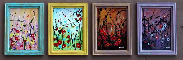 Four Seasons #1 - Set of 4 framed paintings- Ideal gift idea! by Cecilia Frigati