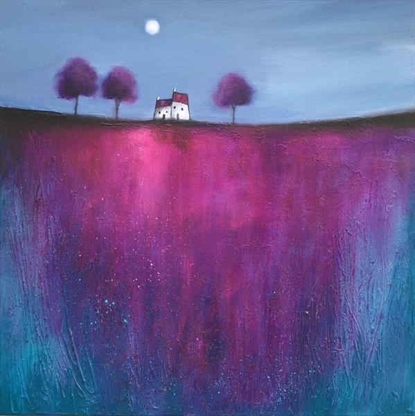 Moonlight houses, textured painting  by JANE PALMER