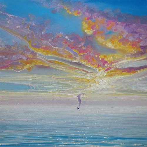 Sky Drama - a seascape with a lone sea gull by Gill Bustamante
