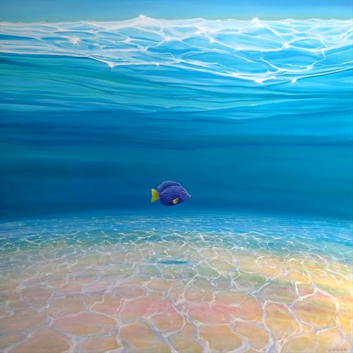 Gloriously Free Under the Sea - an underwater painting with purple tang fish by Gill Bustamante