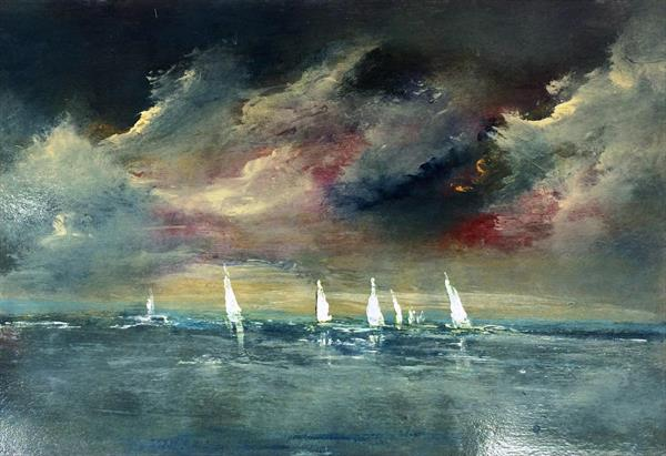 Dark Skies Sombre And Lonely IX Impressionist Seascape Oil On Card  by Maxine Martin