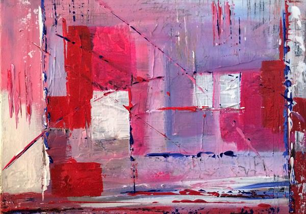Urban Abstract in Pink and White by Rosie Cunningham