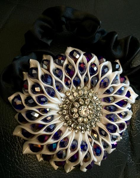 Hair piece with blue crystals by Irum Iftikhar