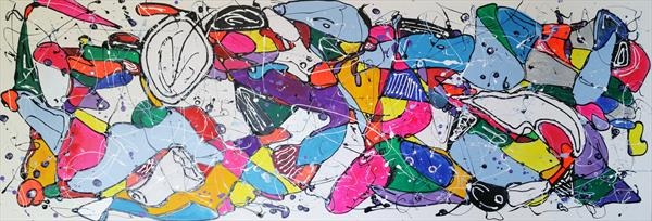 "67x 23,5""( 170x60cm), Unusual thoughts 5, colorful painting by Veronica Vilsan"