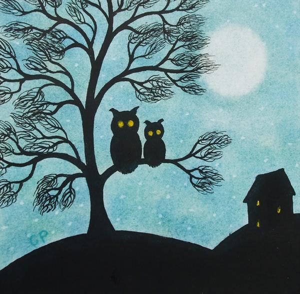 Owls in Tree (Framed) by Claudine Peronne