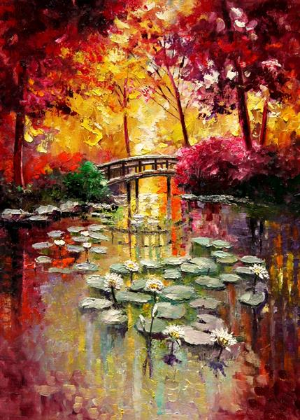 Lily Pond Sunrise, collectible ACEO print by Yary Dluhos
