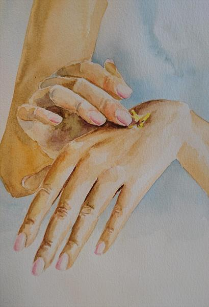 Hands with butterfly beauty Artist watercolour A3 by Elena Haines