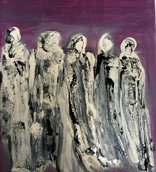 The Ladies Abstract Oil On Canvas  by Maxine Martin