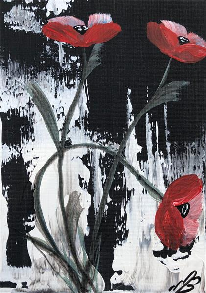 Red Poppies in a frame by Marja Brown