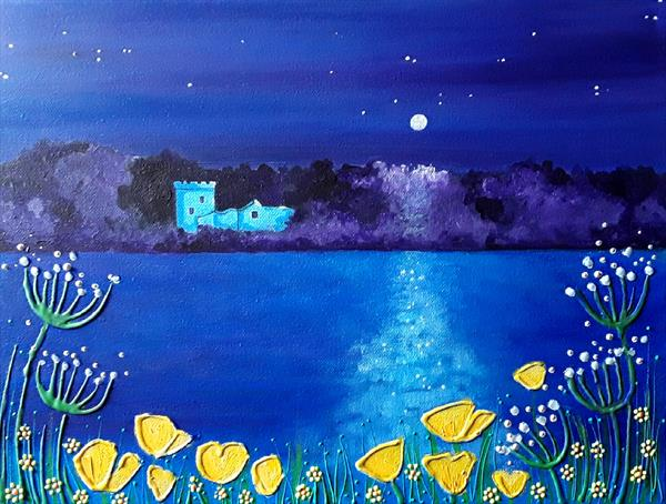 Moonlight on Loch Leven by Angie Livingstone