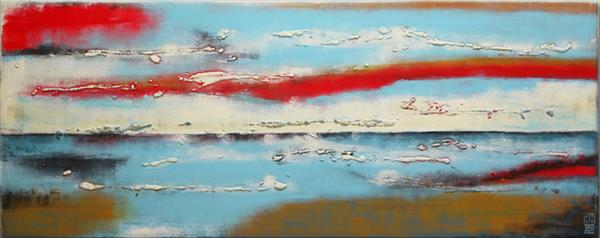 Abstract Painting - Turquoise & Reds Landscape - C12 by Ronald Hunter