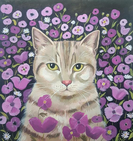 Kitty with poppies by Mary Stubberfield