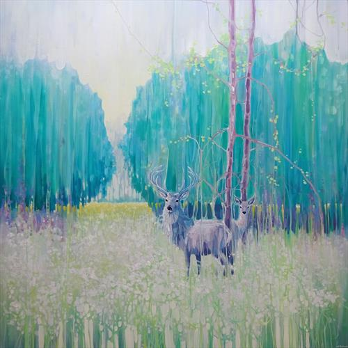 Monarchs of Spring - a large oil painting of a green spring meadow with deer