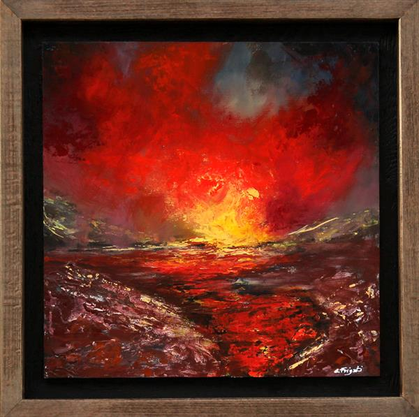 The Clash of Angels #7- Framed original abstract landscape by Cecilia Frigati