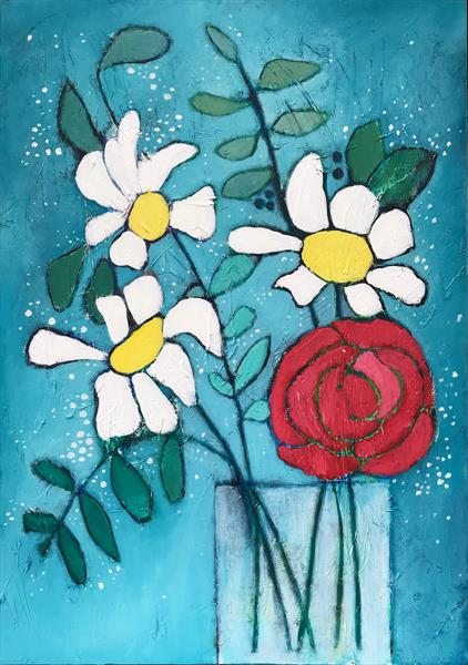 Daisies and a Rose by Eileen Kiely