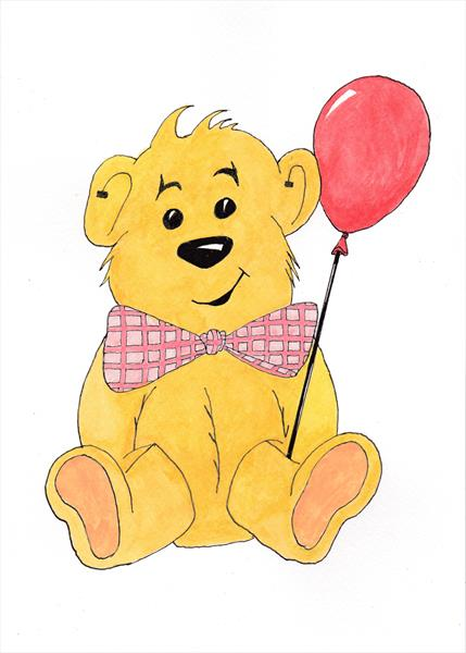 Nursery 4 pink balloon teddy by Brian Maloy