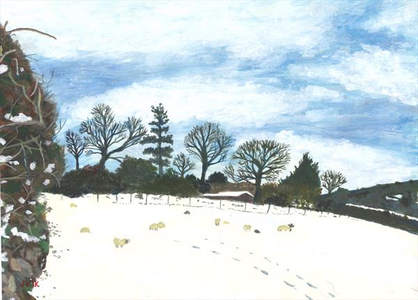 Field off Hillside, South Brent, sunshine and snow by John Van Der Kiste