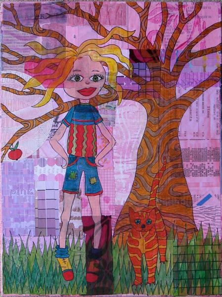Girl and Cat Collage by Linda Calverley