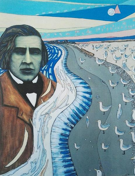 Chopin at the beach. LIMITED EDITION PRINT 3/5. by mario curis