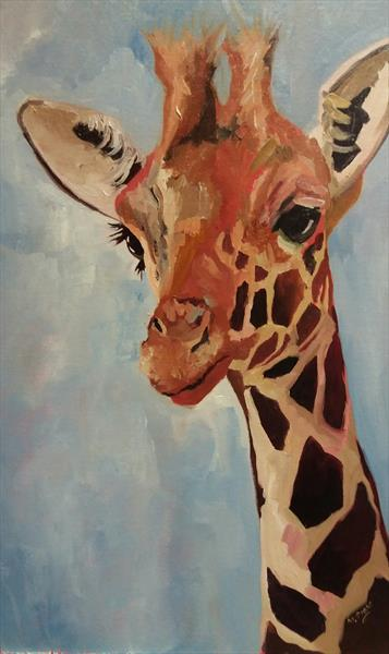 Jerry Giraffe Oil on MDF Canvas board- A Funky Fun Painting by Marjory Sime