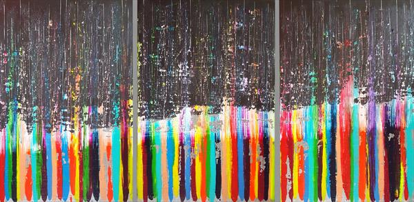 Remember - XXL triptych textured modern abstract by Ivana Olbricht