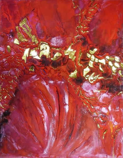MAGNIFICENT RUBY; Big abstract painting with deep  texture details, used Gold Leaf 24K by Alena Shymchonak