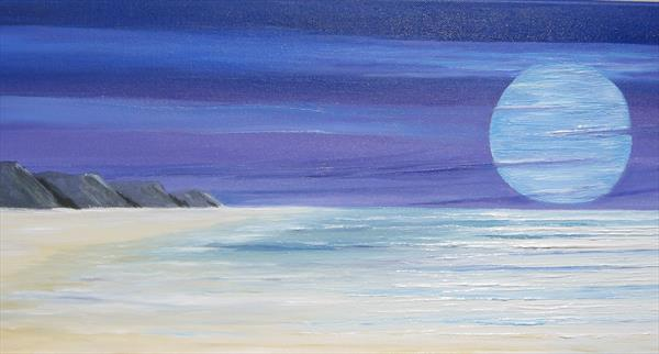 `THE RISING MOON` CORNWALL COAST by Geoff Cottam