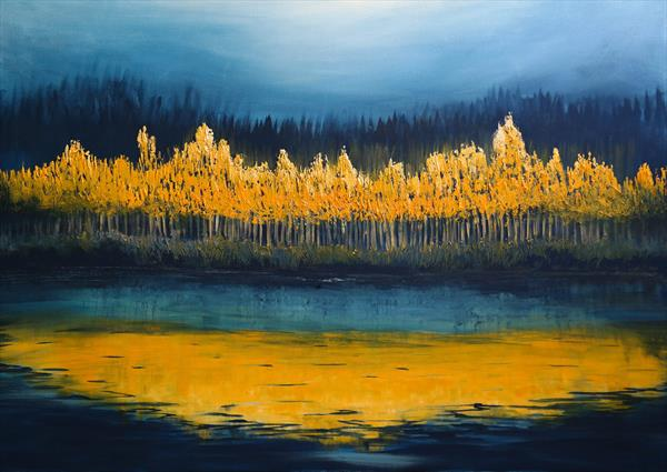 The Mirror of the Fall - Fields and Colors Series- EXTRA LARGE  by Danijela  Dan