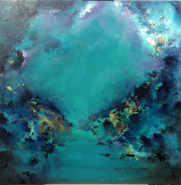 """""""The Blue Mood"""" the large painting  1m x1m by Olena Topliss"""