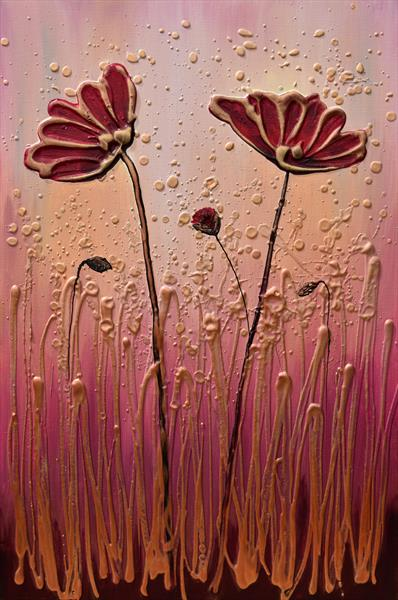 Poppy Family - On display with Artgallery at Malvern Theatres by Amanda Dagg