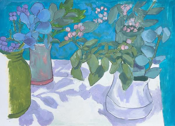 Still Life in Turquoise and Lilac by Juliet de Falbe